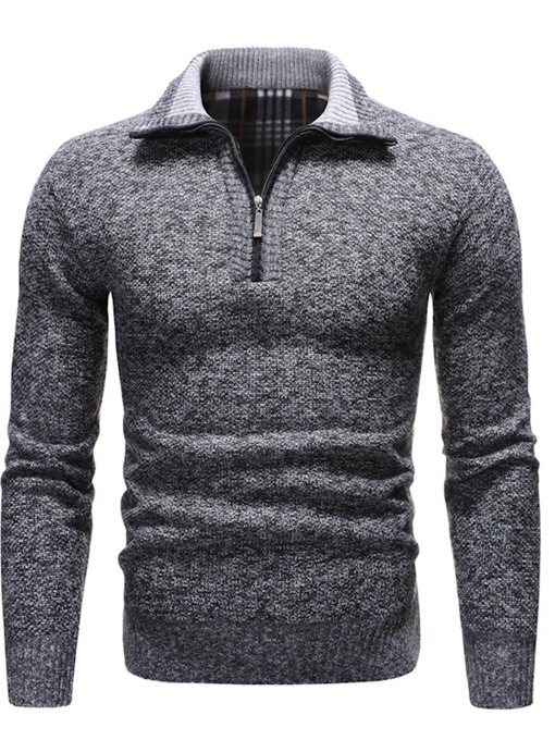 Ericdress Color Block Lapel Silm Style European Men's Sweater