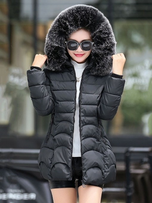 Ericdress Faux Fur Hooded A Line Thick Zipper Mid-Length Cotton Padded Jacket