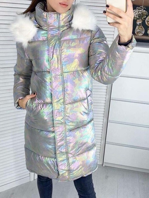 Ericdress Faux Fur Hooded Zipper Straight Long Cotton Padded Jacket