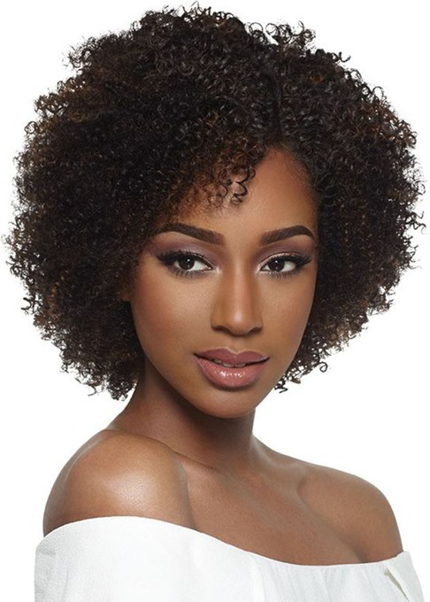 Ericdress Women's Short Bob Hairstyles Afro Curly Wigs with Bangs Short Length Human Hair Capless Wigs 12Inch