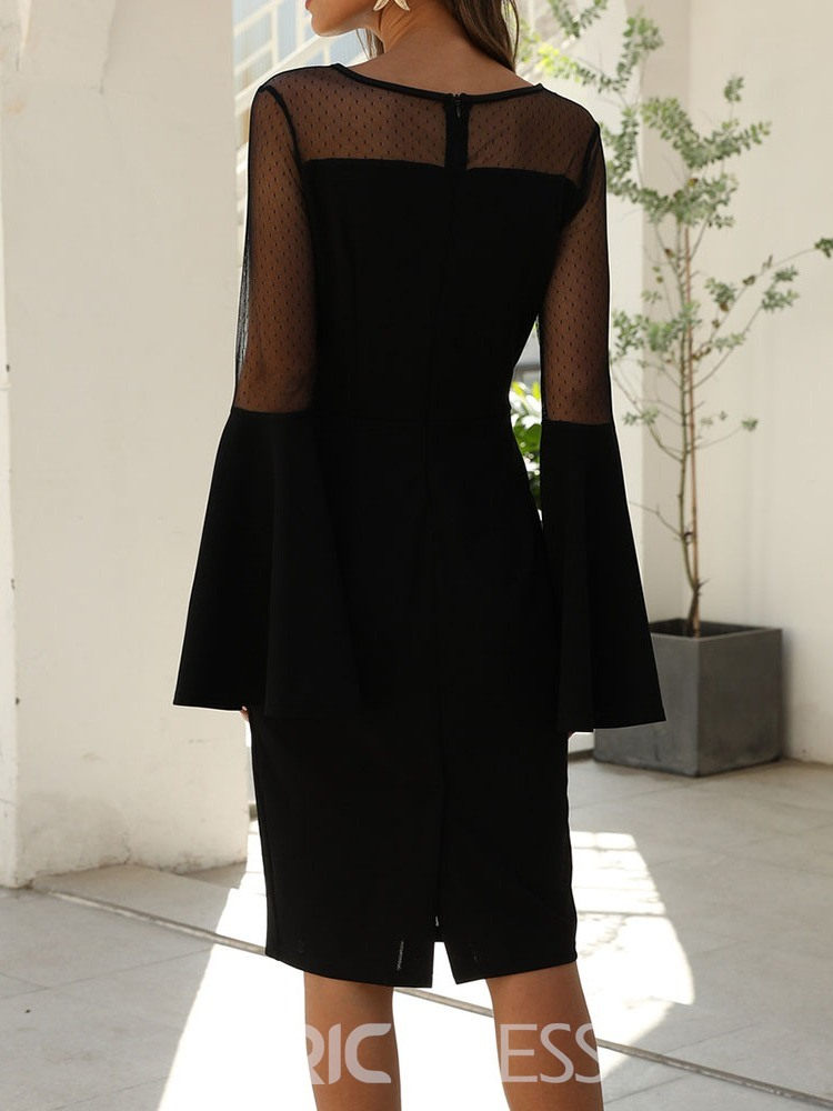 Ericdress Round Neck Patchwork Knee-Length Pullover Flare Sleeve Dress