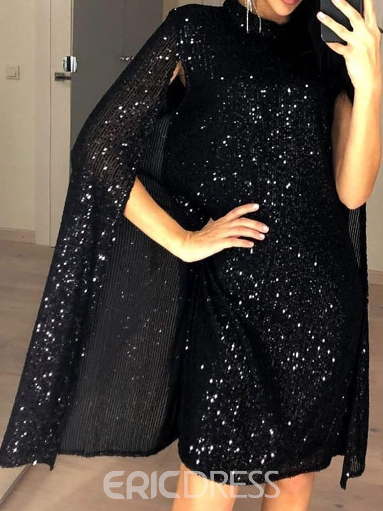 Ericdress Above Knee Stand Collar Sequins Party/Cocktail Pullover Dress