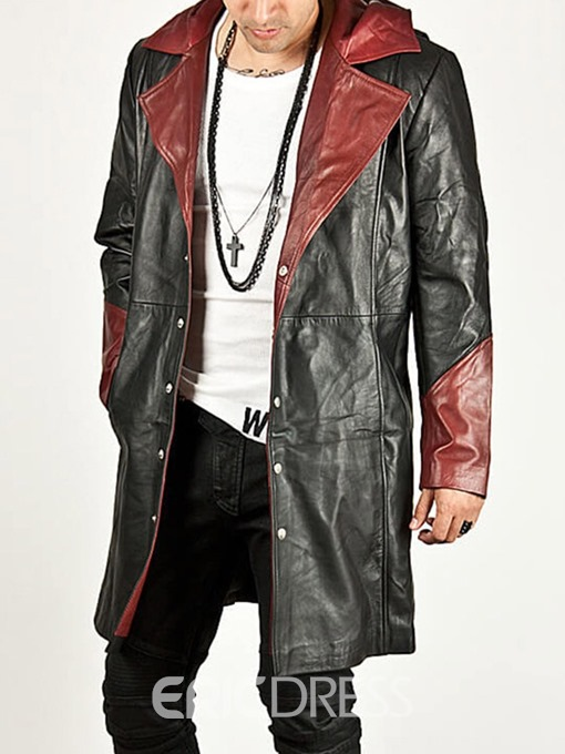 Ericdress Mid-Length Hooded Color Block European Men's Leather Jacket