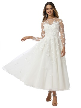 Ericdress A-Line Long Sleeves Tea-Length Garden Wedding Dress 2020