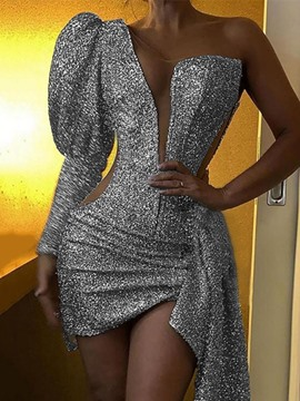 Ericdress Above Knee Sequins Long Sleeve Sexy Mid Waist Dress