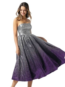 Ericdress Tea-Length Strapless A-Line Sleeveless Prom Dress 2020