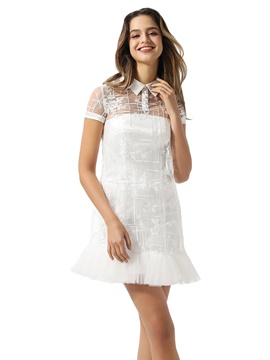 Ericdress Lace Short Sleeves Sheath/Column Short/Mini Beach Wedding Dress