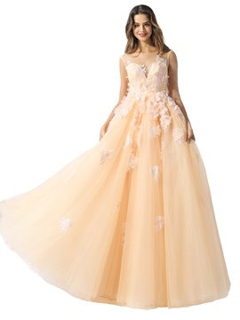 Ericdress Half Sleeves Appliques Floor-Length Ball Gown Prom Dress 2020