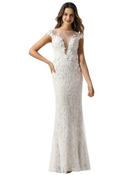 Ericdress Lace Sheath/Column Cap Sleeves Bateau Church Wedding Dress 2020