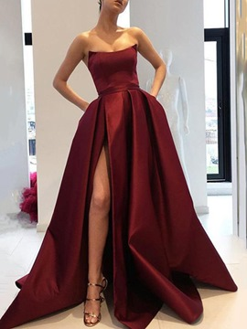 Ericdress Floor-Length A-Line Spaghetti Straps Button Evening Dress 2020
