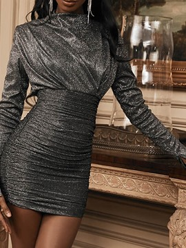 Ericdress Stand Collar Long Sleeve Lurex Fashion Bodycon Dress