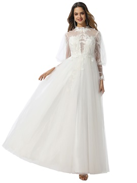 Ericdress A-Line Appliques High Neck Wedding Dress