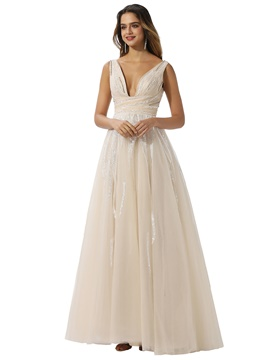 Ericdress V-Neck A-Line Floor-Length Beach Wedding Dress 2020