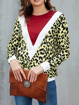 Ericdress Leopard Standard Long Sleeve Round Neck Straight Casual T-Shirt