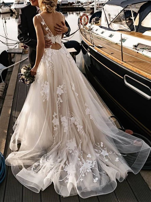 Ericdress Bateau A-Line Court Button Garden/Outdoor Wedding Dress 2020