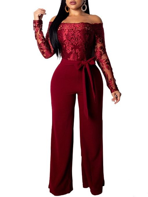 Ericdress Off Shoulder Plain Lace-Up Full Length Slim Straight Jumpsuit