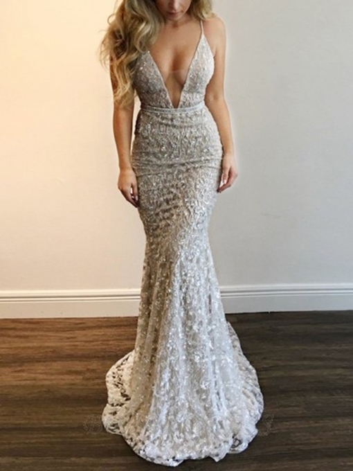 Ericdress Lace Mermaid Floor-Length Sleeveless Evening Dress 2020