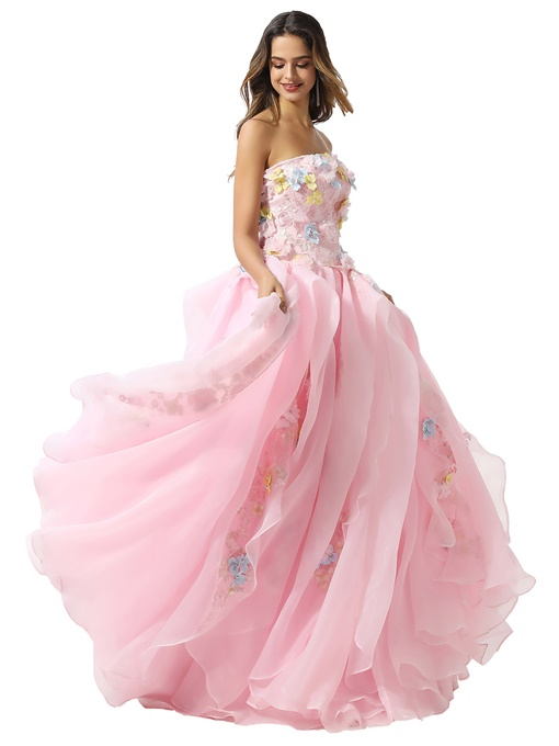 Ericdress Appliques Ball Gown Strapless Floor-Length Quinceanera Dress