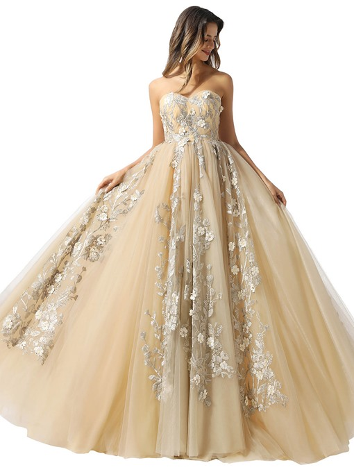 Ericdress Ball Gown Sweetheart Appliques Sleeveless Prom Dress