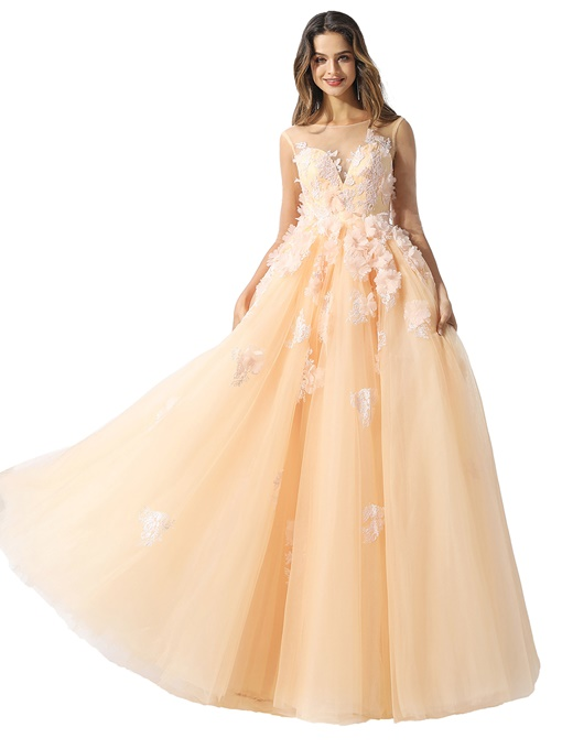 Ericdress Half Sleeves Appliques Floor-Length Ball Gown Prom Dress