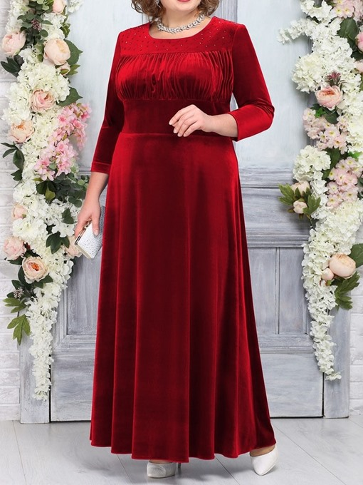 Ericdress Plus Size Round Neck Floor-Length Three-Quarter Sleeve Pullover High Waist Dress