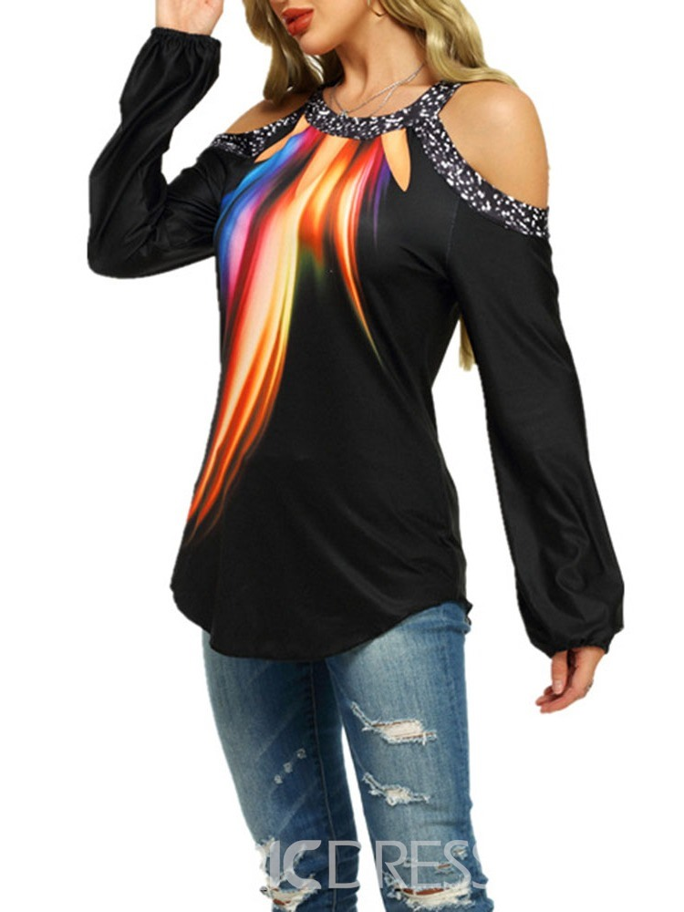 Ericdress Off Shoulder Long Sleeve Mid-Length Casual Straight T-Shirt