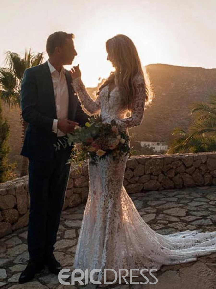 Ericdress Backless Lace Long Sleeves Wedding Dress 2020