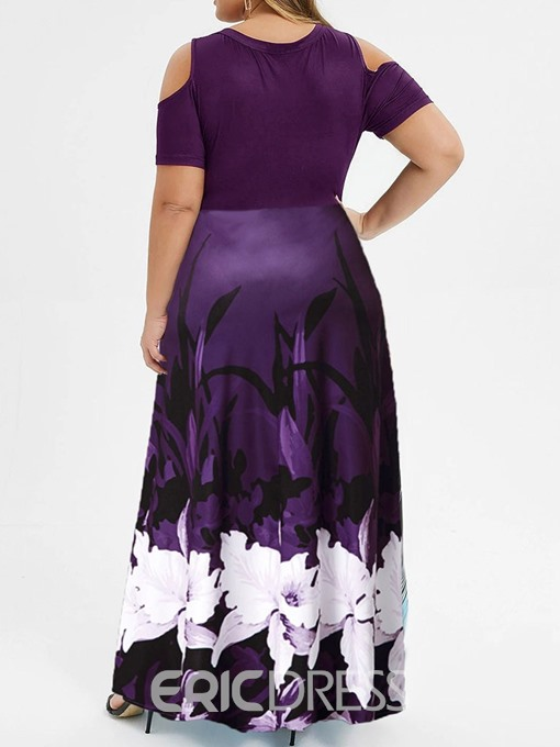Ericdress Plus Size Short Sleeve Scoop Floor-Length Cold Shoulder High Waist Dress
