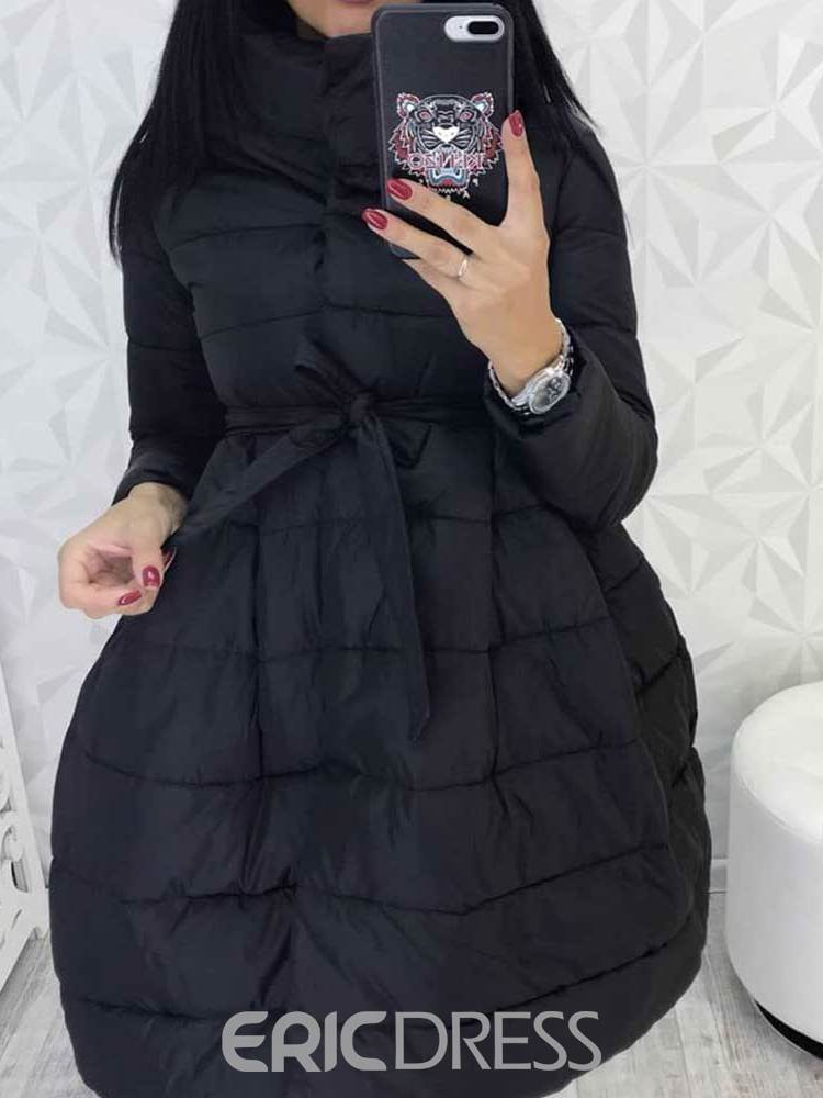 Ericdress Thick Lace-Up A Line Mid-Length Cotton Padded Jacket