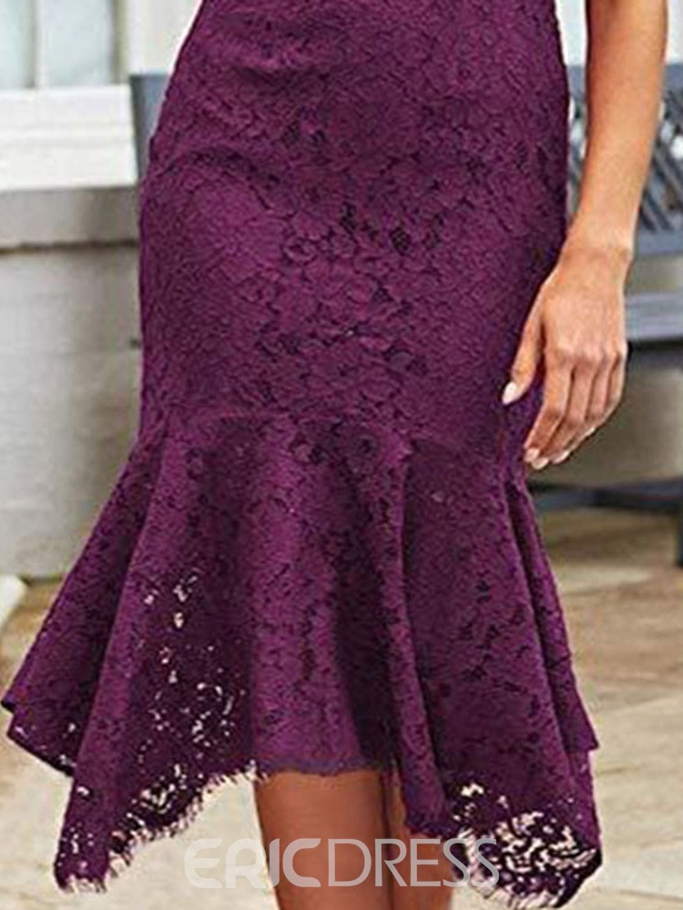 Ericdress Mid-Calf Cap Sleeve Lace Pullover Floral Dress