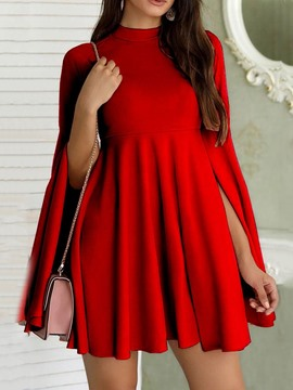 Ericdress Long Sleeve Stand Collar Above Knee Flare Sleeve Expansion Dress