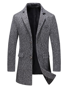 Ericdress Mid-Length Button Style Plain Slim Men's Coat