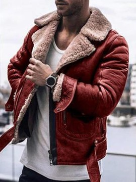 Ericdress Lapel Color Block Winter Patchwork Men's Leather Jacket