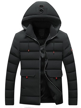 Ericdress Plain Hooded European Zipper Style Men's Down Jacket