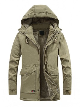 Ericdress Pocket Mid-Length Style Plain Color Zipper Casual Men's Down Jacket