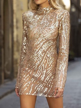 Ericdress Long Sleeve Stand Collar Sequins Plain Fall Dress