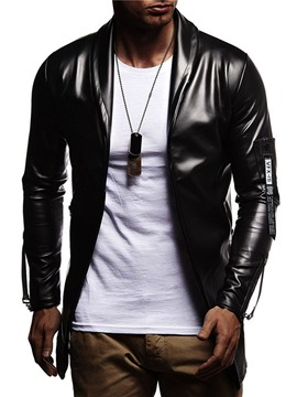 Ericdress Plain Color Lapel Casual Slim Style Men's Leather Jacket