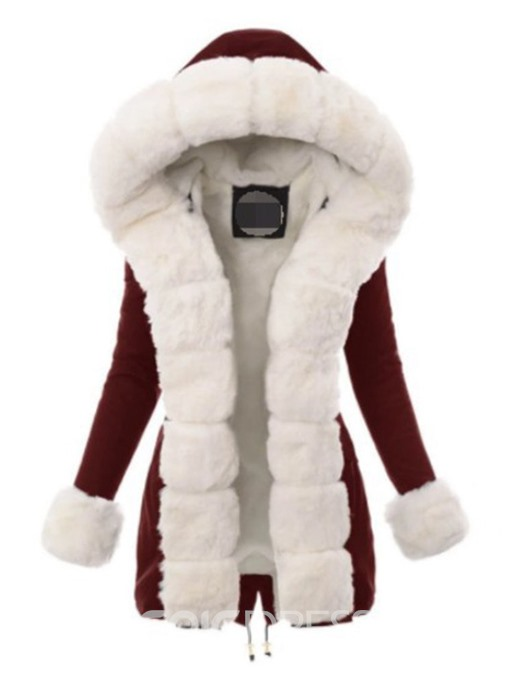 Ericdress Faux Fur Long Collar Thick High Waist Mid-Length Cotton Padded Jacket