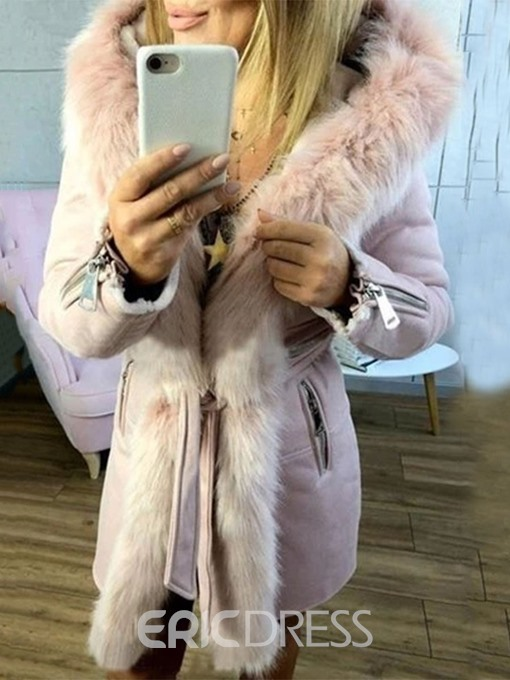 Ericdress Faux Fur Long Collar Thick A Line Mid-Length Cotton Padded Jacket