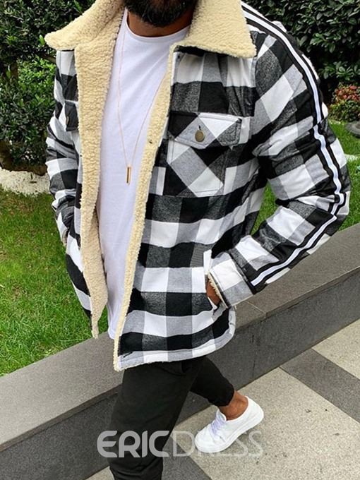 Ericdress Lapel Pocket Plaid Loose Thick Style Men's Jacket