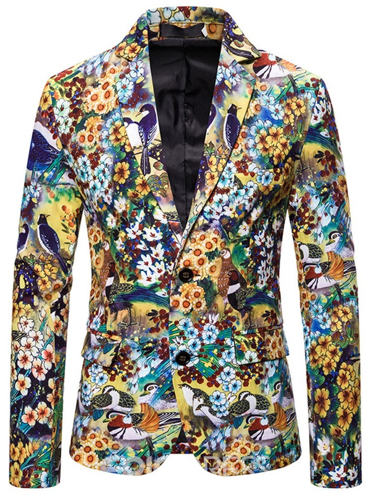 Ericdress Single-Breasted Button Notched Lapel Men's Leisure Blazers