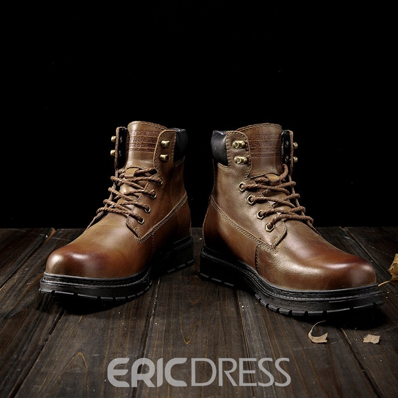 Ericdress Lace-Up Front Patchwork Round Toe Leather Boots
