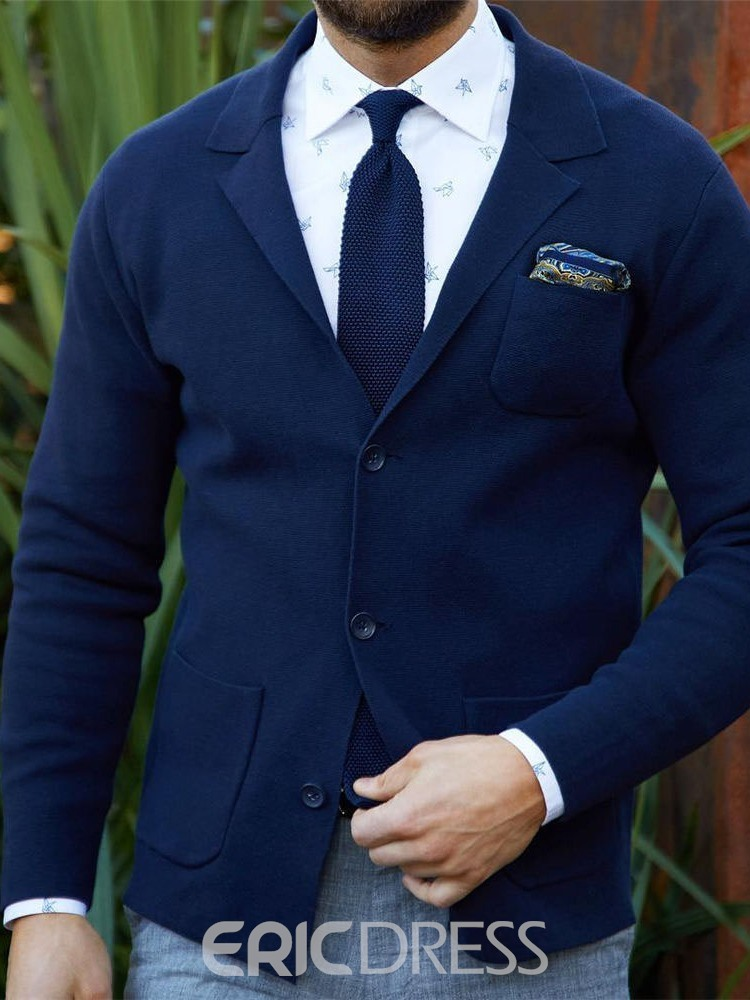 Ericdress Plain Color Notched Lapel Single-Breasted Men's Leisure Blazers