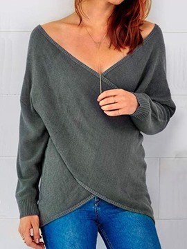 Ericdress Plain Regular Loose Casual V-Neck Sweater