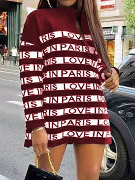 Ericdress Stand Collar Long Sleeve Above Knee Letter Casual Dress