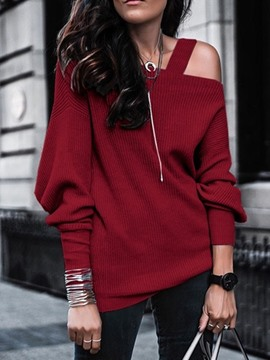 Ericdress Asymmetric Off Shoulder Regular Mid-Length Sweater