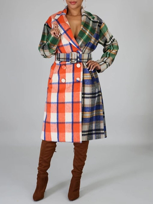 Ericdress Plaid Double-Breasted Lace-Up Long Notched Lapel Overcoat
