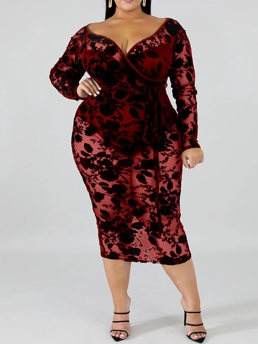 Ericdress Plus Size See-Through Long Sleeve V-Neck Sexy Floral Dress