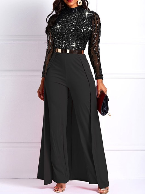Ericdress Full Length Elegant Patchwork Straight High Waist Jumpsuit
