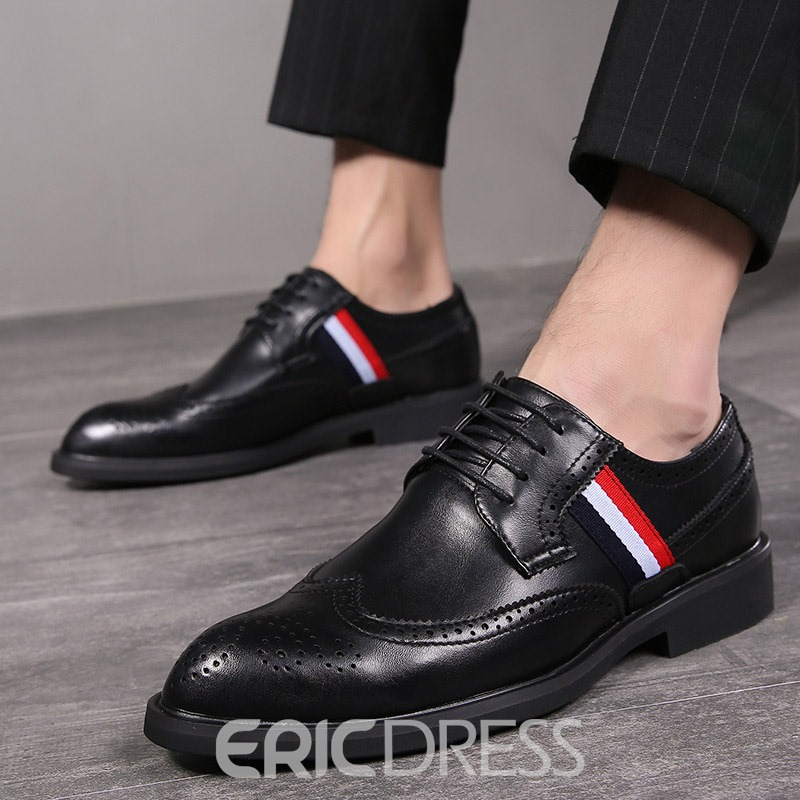 Ericdress Low-Cut Upper Color Block Round Toe Leather Shoes